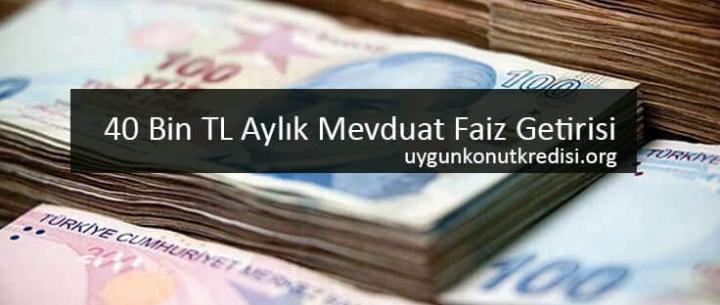 40 Bin TL Aylık Mevduat Faiz Getirisi (32 Gün Vade) Tüm Bankalar