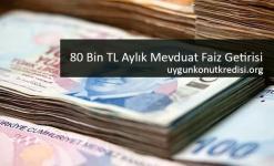 80 Bin TL Aylık Mevduat Faiz Getirisi (32 Gün Vade) Tüm Bankalar