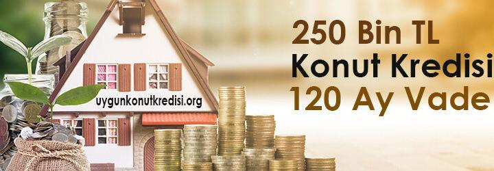 250 Bin TL Konut Kredisi 2019 – 120 Ay Vade – Tüm Bankalar (Aylık Hesaplama)