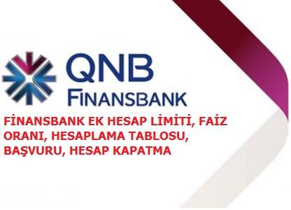 QNB Finansbank Ek Hesap Başvurusu, Faiz Oranları, Limit ve Hesaplama Tablosu