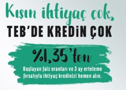 TEB'den Kış Kredisi Kampanyası (Başvuru ve Hesaplama)